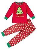 AIDEAONE Albero di Natale Ragazzini per Bambini Ragazzi Pigiama Maniche Lunghe Set di Indumenti da Letto in Cotone Pjs Abbigliamento Taglia (2-3 Anni)