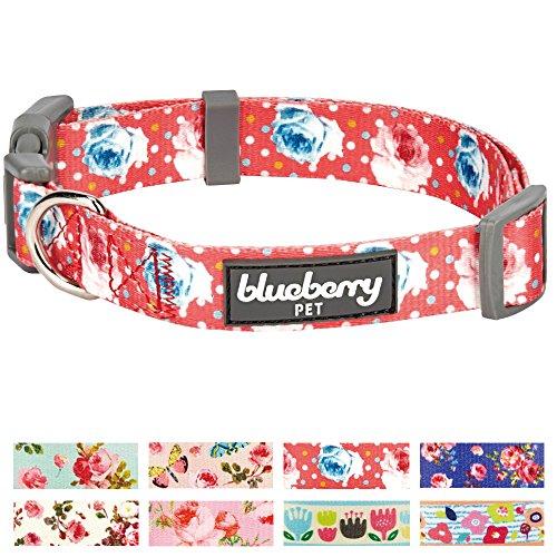Blueberry Pet Frühlingsduft Inspiriertes Rosen- und Tupfenmuster Korallen-Pink, Hundehalsband, M, Hals 37cm-50cm