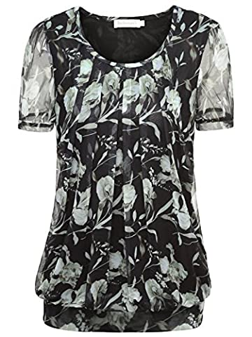 BAISHENGGT Women's Ruched Front Mesh Casual Short Sleeve Stretchy Tunic Tops T-shirt Black Floral-2