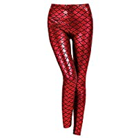 Discoball® Women Metallic Fish Scale Mermaid Print Fashion Leggings Metallic Soft Shine Leggings High Waist(Red Size:XL=UKM/UK10) Great Mother�??s Day Gift