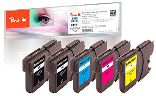 Peach PI500-127 Negro, Cian, Amarillo, Magenta cartucho de tinta - Cartucho de tinta para impresoras (Negro, Cian, Amarillo, Magenta, Brother MFC-490CW/790CW/5490/6490CW/6890CW/6890CDW, DCP-185C/385C/585CW, LC-1100, LC-980, Inyección de tinta, Alto rendimiento (XL), 5 pieza(s))