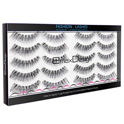 EmaxDesign 10 paires de Faux Cils, Multipack Natural 3D Cils Faux - Eyelashes Mode Extension Pour Maquillage