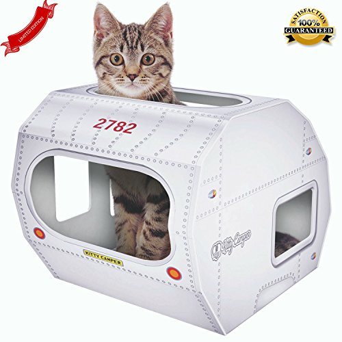 NEW-Cardboard-Cat-House-The-Kitty-Camper-Is-The-Perfect-Playhouse-Castle-And-Bed-For-Indoor-Pets-Just-Add-Cat-Toys-Feel-Good-About-Leaving-Your-Kitten-or-Rabbit-At-Home-FREE-EBook-Money-Back-Guarantee