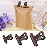 BIlinl 6pcs en Acier Inoxydable Lettre Papier Photo Fichier Binder Clip Sac Cachetage Stationary Office Supplies
