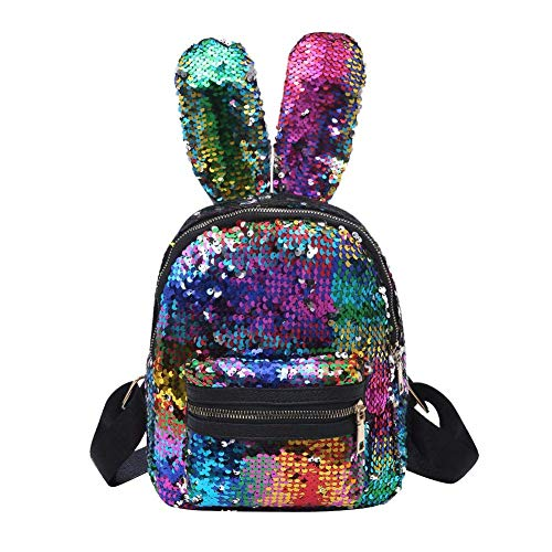 Lelestar Zaino con Paillettes Zainetto Orecchie di Coniglio Borsa da Viaggio Glitterata Borsa da Scuola Casual(Multicolore)
