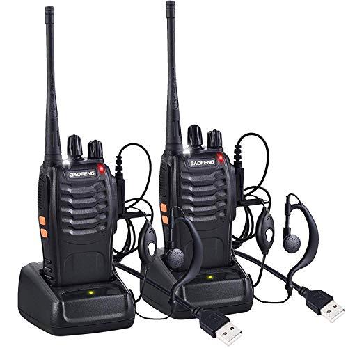 LINN Funkgerät Set, BF-888S Walkie Talkie 16 Kanäle Sprechfunkgerät Funktelefon in beiden Richtungen,Funksprechgerät Eingebauter LED-Taschenlampe mit USB Anschluß und Headset(2er Set)