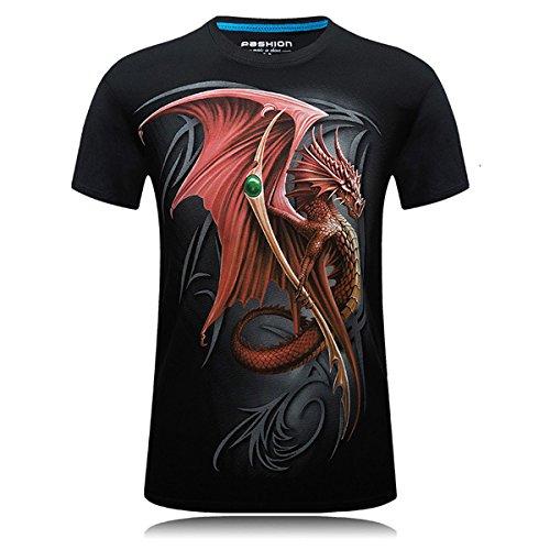 Alamor Mens 3D Fuego Dragón Impresión Tees Grandes Más Tamaño S-4Xl Moda De Verano Casual Manga Corta Personalidad Camiseta-Negro-3XL