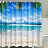 Blauer Himmel & Blaues Meer & Strand Duschvorhang, Qile Top Qualität Anti-Schimmel & Anti-Bakteriell 3D Duschvorhänge für Bad Badezimmer 180 x 180 cm + 12 Haken