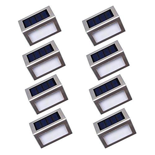 Nateer Solarleuchte Garten, 3 LED Solar Wandleuchten mit Lichtsensor, Wasserdichte Kabellose Sicherheitslicht Solarlampe für Aussen, Zaun, Treppe, Dachrinnen, Balkon, Terrasse (8 Stück)