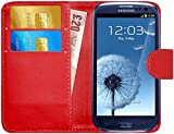 G-Shield Samsung Galaxy S3/S3 Neo Hülle mit Kartenfach Ledertasche Klapphülle PU Leder Schutzhülle Tasche Flip Case Cover Etui Handyhülle mit Displayschutzfolie und Stylus (I9300) - Rot