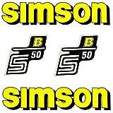 Set: Aufkleber - Klebefolie SIMSON S50 B - GELB - für Tank und Seitendeckel + BISOMO® Sticker