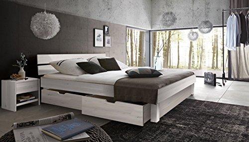 SAM® Massiv-Holzbett Campus mit Bettkästen in Kernbuche weiß, geteiltes Kopfteil, 100% FSC-zertifizierte Kernbuche, natürliche Maserung, massive widerstandsfähige Oberfläche in zeitlosem Farbton, 180 x 200 cm