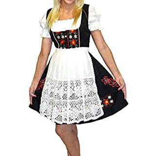 Dirndl Trachten Haus Women's 3-Piece Short German Dress 44 Black