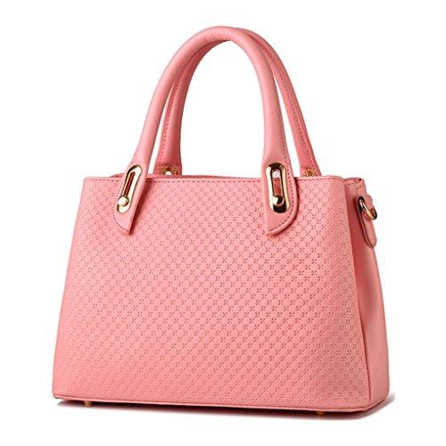 LaoZan Donne Pure Color Pu Pelle Tote Borsa A Tracolla Grande Capacità Borsetta Blu Reale Pink