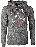 JACK & JONES Herren Kapuzenpullover Hoodie Core Storm Sweatshirt Jeans Sweat 12137057 S M L XL XXL (L, 23 Rot/Grau)