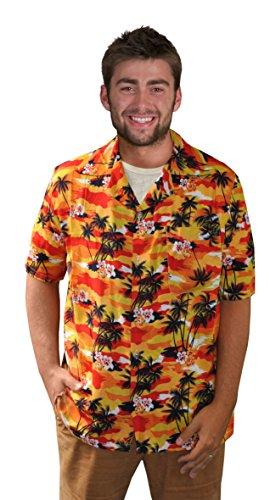 Orange Hawaiihemd mit Palmen für Hawaii Party