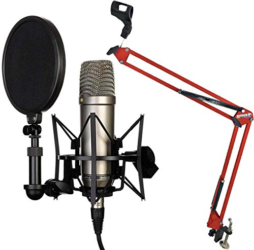 Rode NT1-A Juego condensador Micrófono Keepdrum 5-nb35RD Rojo brazo articulado trípode