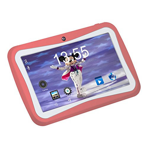7 Zoll Kinder Tablet Android,QIMAOO Tablet kids Bilige Tablet PC 1G RAM+8G ROM Android 5.1 Quad Core 1.2 GHz mit Silikonhülle Pink