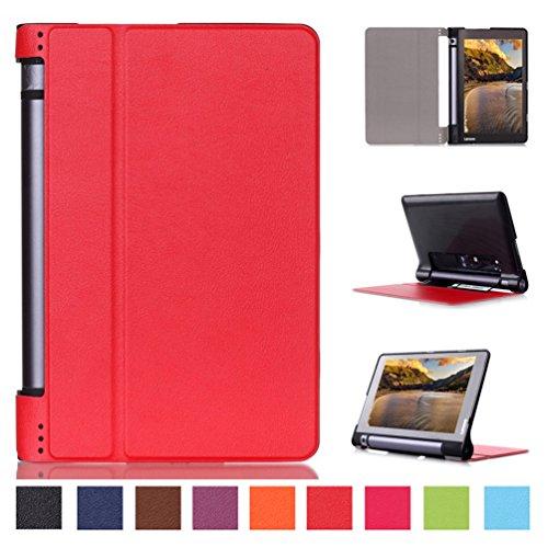 Schutzhülle für Yoga Tablet3 8 Zoll - Utra Slim Ledertasche Flip Case Cover Hüllen Tasche für Lenovo Yoga Tablet 3-8 20,3 cm (8 Zoll IPS) Tablet Lederhülle Etui mit Standfunktion (Rot)