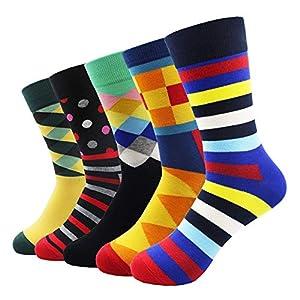 LILIKI@ 5 Paare/Los Gekämmte Baumwolle Damensocken Mit Niedlichen Tier Bär Cartoon Roboter Regenbogen Muster Lange Glückliche Lustige Bequeme Socken