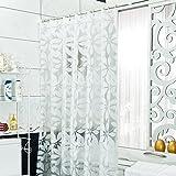 ShowPower Nr.1012 Anti-Schimmel Duschvorhang, Anti-bakterieller Vorhang für die Dusche inkl. 12 Duschvorhangringen, Blattmuster Transluzent Vorhang in Weiß, aus 100% PEVA, 300 x 200 cm