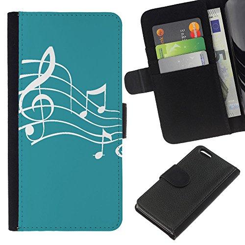 Graphic4You Musik Noten Muster Design Brieftasche Leder Hülle Case Schutzhülle für Apple iPhone 5C (Braun) Türkis