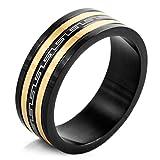 MunkiMix Edelstahl Ring Band Schwarz Silber Golden Zwei Ton Griechisch Streifen Gestreift Größe 62 (19.7) Herren