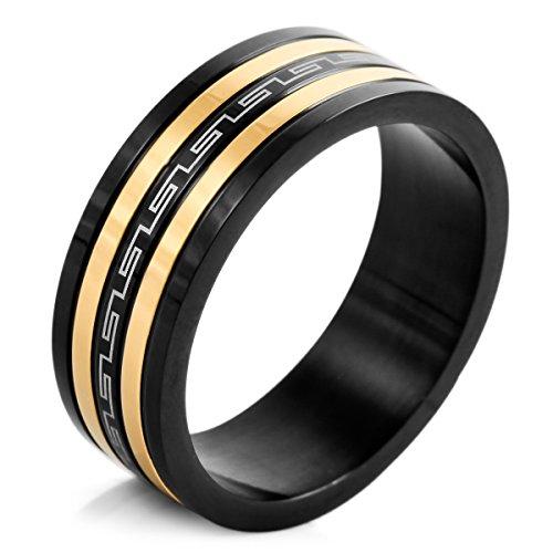 MunkiMix Edelstahl Ring Band Schwarz Silber Golden Zwei Ton Griechisch Streifen Gestreift Größe 70 (22.3) Herren