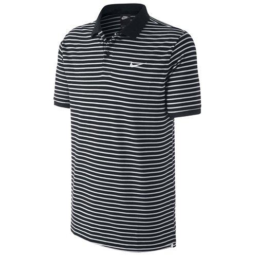 Nike Herren Polo shirt Matchup Pique thin stripe, Schwarz/Weiß, L, 727689-010 (Polo Nike Stripe)