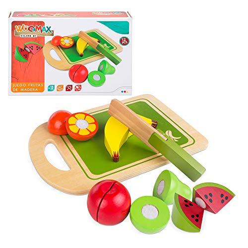 WOOMAX- Juego frutas madera natural Color Baby 42759