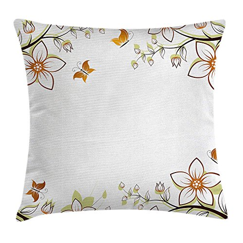 Floral Throw Pillow Cushion Cover, Flowers Leaves Branches Buds Butterflies Frame Like Image Print, Decorative Square Accent Pillow Case, 18 X 18 Inches, Light Brown Pale Green White