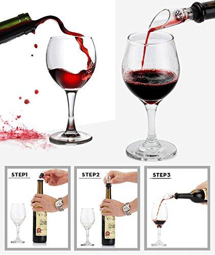 Cooko Kit de Abridor de Vino, Acero Inoxidable Rojo Vino Cerveza Abrebotellas Sacacorchos de Alas, Vino Aireador, Termómetro, Tapón, y Set de Accesorios Para con Oscuro Madera de Cerezo caso - 9 Piezas - 4