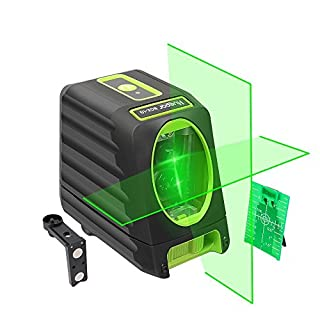 Huepar Self-leveling Alignment Line Laser, Green Laser Level BOX-1G 45m Cross Line Laser, Selectable Vertical & Horizontal Laser Beam, with Full Soft Rubber Covered, Flexible Magnetic Mount Base