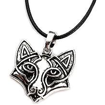 Miss–E–Jewels TM argento antico ornato Viking Fox Head Face ciondolo collana da donna da uomo celtico Norreno nordico Rune Talisman