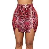 Qmber Lederrock Rock Business Damen OL Mini Basic Elegant Winter A-Linie Bleistiftrock Figurbetont kurzen Pakethüfterock, Elastische Schlange Bodycon unter Knie Abend Party Rock(RD,Small)