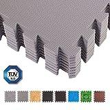 BodenMax® CRS804902-3030-18 Tapis de Sol Puzzle Tapis de Protection Mousse EVA TÜV Motif Gris 30x30x1 cm (18 pièces)