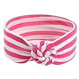 Stirnbänder Mädchen, ZIYOU Gestreift Haarbänder Kopftuch, Baby Turban Headwrap Knot Stirnband (Rosa-rot)