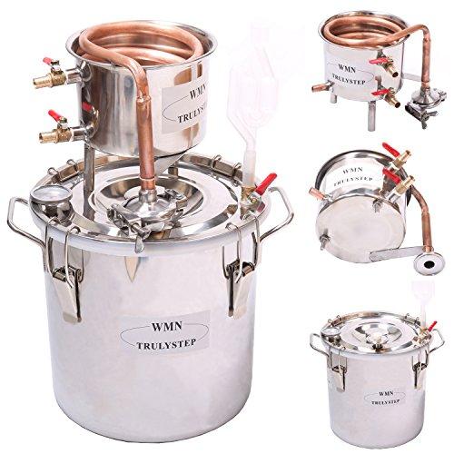 10L-100L DIY CASA Alambique Destilador Destilación Still Enfriador Caldera Termómetro Vino Alcohol Agua Esencial Aceite Preparación Kit (10 L Litro, Cobre)