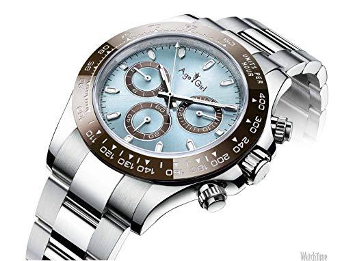 KLMWDSB Reloj para Hombre Marca Nuevos Hombres Relojes Mecánicos Automáticos Cielo Azul Platino Acero Inoxidable Cristal de Zafiro Reloj Daytona AAA + Calidad