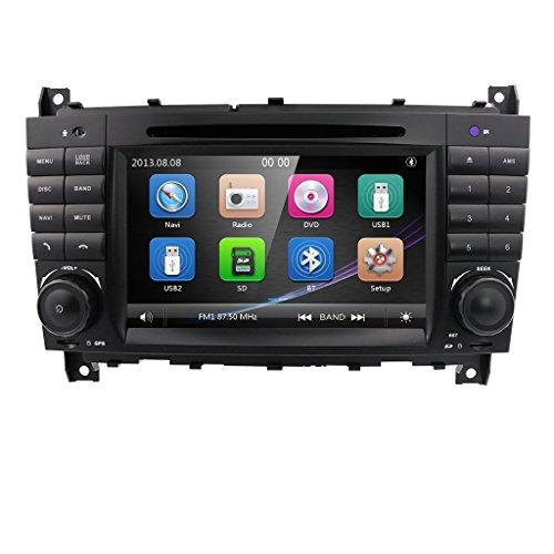 7-Zoll-Doppel-Din-Autoradio mit Stereoanlage für Mercedes-Benz C-Klasse W203 CLK-Klasse W209 DVD-Player unterstützt GPS-Navigationsgerät, DAB +, BT, RDS-Radio, Spiegelverbindung, SWC, OBD2, DVR