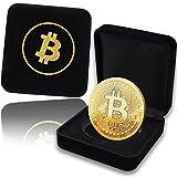Pièce de Bitcoin physique plaqué en or de 24 carats. Un étui noble pour une pièce de collection unique + E-Book GRATUIT contre les attaques cyber