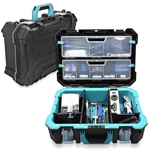 """Navaris Techniker Werkzeugkoffer 20 1/2"""" leer - 52,5 x 38,9 x 19cm - mit 2 Stahlschließen mehrere Fächer 2 Organizer Boxen - Koffer ohne Werkzeug"""