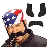 Favoris avec rouflaquettes Côtelettes postiche noir Barbe à coller Moustache...