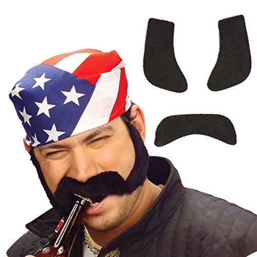 Backenbart mit Koteletten falscher Bart zum ankleben schwarz Rocker Schnurrbart Unechte Bärte Biker Anklebebart Klebebart Fasching