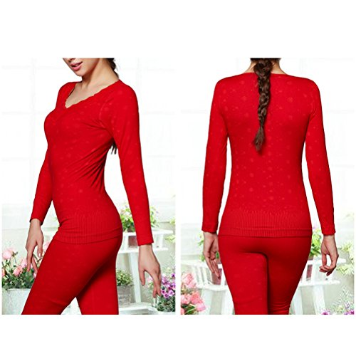 Zhhlinyuan Frau Women's Winter Thicken Warm Lace Sexy V-neck Bodyshaped Thermal Underwear Set Red