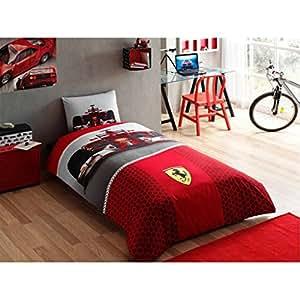 formule 100 coton ferrari f1 race parure de lit housse de couette taille double nouvelle. Black Bedroom Furniture Sets. Home Design Ideas