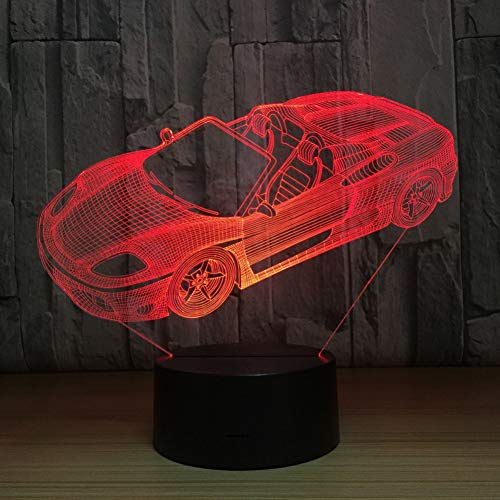 LNHYX Roadster Sports Car Shape 3D Night Light Novelty 7 Colors Changing Led Desk Table Lamp 3D Illusion 7 Colors Lamps Birthday Gift