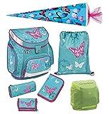 Scooli Butterfly Mädchen Schulranzen-Set 7tlg. Campus Up mit Federmappe, Schultüte 85cm Schultaschen-Set türkis