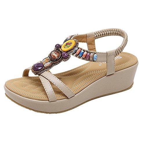 YU'TING 2019 Sandalias Mujer Chanclas Tacon del Verano Cómodos Zapatos Bohemias Las Sandalias Planas