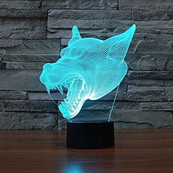 3D Wild Wolf Glühen LED Lampe 7 Farben erstaunliche optische Täuschung Art Skulptur Ferneinstellung Lichter produziert einzigartige Lichteffekte und 3D-Visualisierung für Home Decor-kreative Geschenk